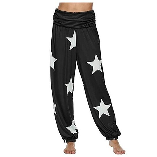 Women's Star Print Soft Yoga Pants Long Baggy Sports Workout Jogger Pants
