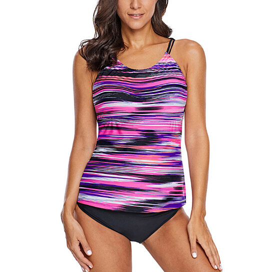 Womens Strips Sporty Double up Tankini Swimsuit