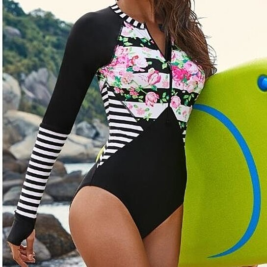 Womens Summer Beach Printed Zip Front Maillot One Piece Swimsuit Swimwear