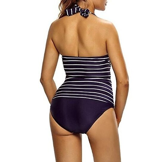 Womens Tankini Plunge V Neck Halter Backless Striped Tankini Top Swimsuit With Briefs