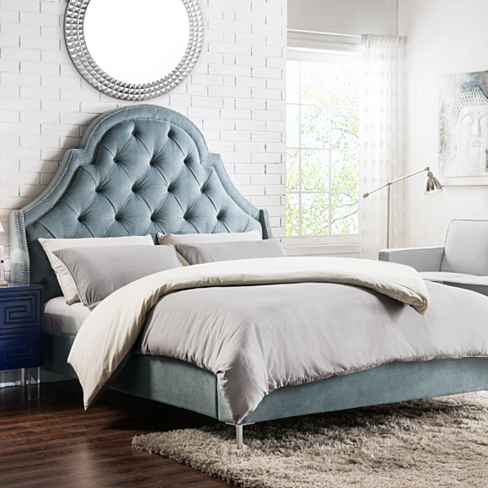 Arthur Bed Frame with Wingback Headboard Velvet Upholstered Button Tufted