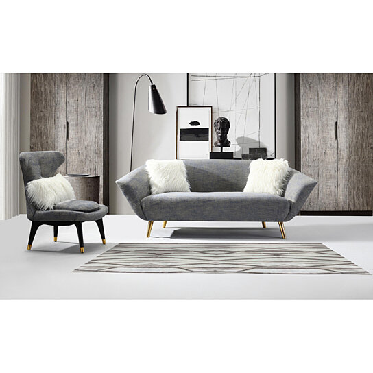 Chaumont Sofa Two Tone Textured Fabric Flared Arm Couch With Goldtone Solid Metal Legs