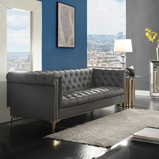Awe Inspiring Macarthur Pu Leather Modern Contemporary Button Tufted With Gold Nailhead Trim Goldtone Metal Y Leg Sofa Gmtry Best Dining Table And Chair Ideas Images Gmtryco