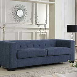 Fürth Sofa Plush Chenille Upholstery Espresso Finished Wood Legs