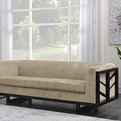 Genevieve Sofa Linen-Textured Upholstery Espresso Finished Lattice Wood Frame