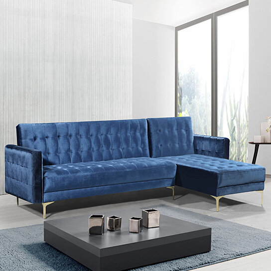 Gerwyn Right Facing Convertible Sectional Sofa Velvet Upholstered Gold Tone  Metal Y-Leg