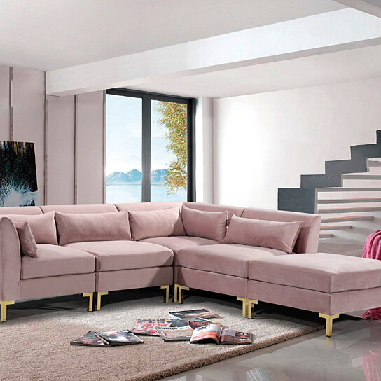 Greco Modular Chaise Sectional Sofa Solid Gold Tone Metal Y-Leg with 6  Throw Pillows