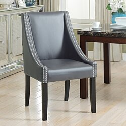 Jefferson Dining Side Accent Chair Pebble Grain PU Leather Espresso Wood Frame, Set of 2