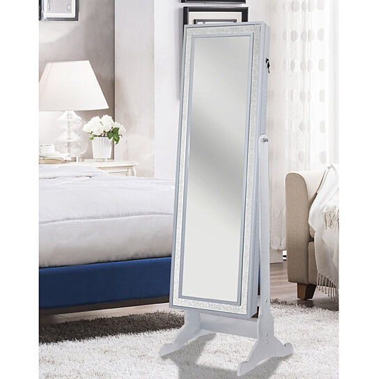 buy jazzy crystal bordered rectangular jewelry storage armoire cheval mirror full length by. Black Bedroom Furniture Sets. Home Design Ideas