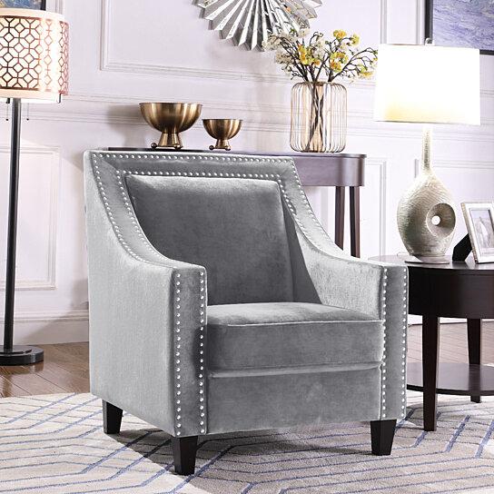 Buy Kam Accent Club Chair Velvet Upholstered Silver Nailhead Trim