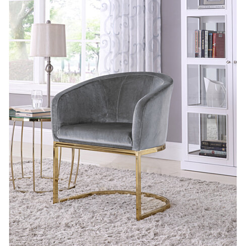 Lippi Accent Club Chair Velvet Upholstered Half-Moon Gold Plated Solid Metal U-Shaped Base