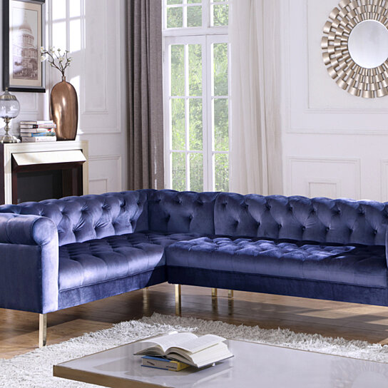 mateo left facing sectional sofa l shape velvet upholstered button tufted roll arm design solid gold tone metal legs