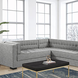 Moraine Left Facing Sectional Sofa L Shape Linen-Textured Upholstered Tufted Shelter Arm Design Espresso Finished Wood Legs
