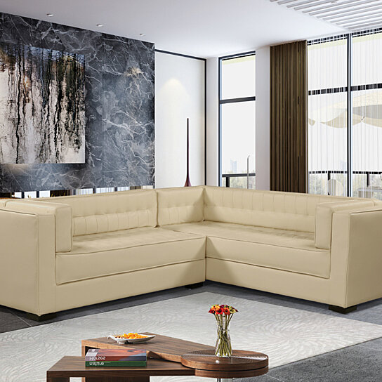 Moraine Left Facing Sectional Sofa L Shape PU Leather Upholstered Tufted  Shelter Arm Design Espresso Finished Wood Legs