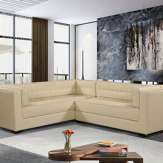 Moraine Right Facing Sectional Sofa L Shape PU Leather Upholstered Tufted  Shelter Arm Design Espresso Finished Wood Legs