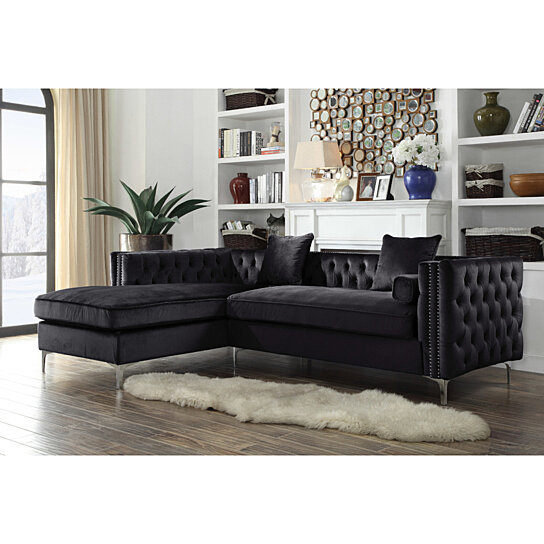 Buy Picasso Velvet Left Facing Sectional Sofa Button Tufted With Silver Nailhead Trim Silvertone Metal Y Leg By Lux Bed Llc On Dot Bo