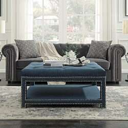 Quinn Coffee Table Ottoman 2-Layer Polished Nailhead Tufted Linen Bench