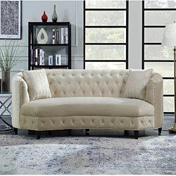 Sassa Kidney Shaped Club Sofa with 2 Accent Pillows