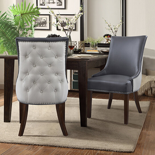Groovy Taylor Pu Leather Dining Chair Set Of 2 Linen Button Tufted With Silver Nailhead Solid Birch Legs Bralicious Painted Fabric Chair Ideas Braliciousco