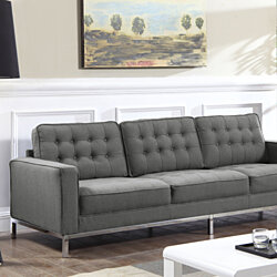 Tucker Linen Button Tufted Square Arm Silvertone Straight Leg Sofa