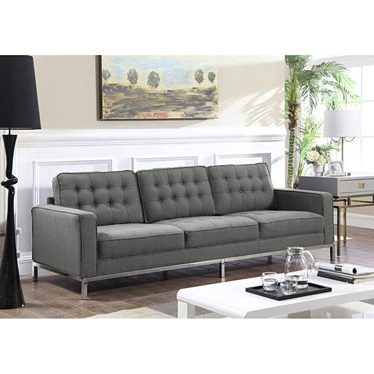 Tucker Linen Button Tufted Square Arm Silvertone Straight Leg Sofa