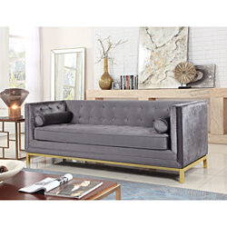 Vigan Club Sofa Tufted Velvet Plush Cushion Brass Finished Stainless Steel Brushed Metal Frame Couch