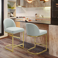 Buy Liana Bar Stool Or Counter Stool Chair Pu Leather Upholstered Armless Design Half Moon Gold Plated Solid Metal U Shaped Base By Lux Bed Llc On Dot Bo