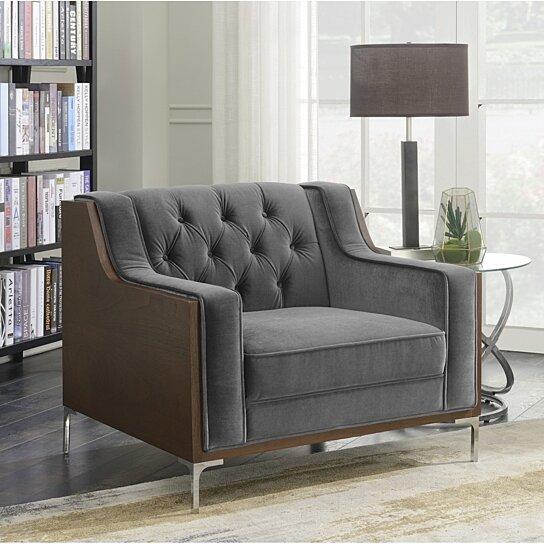 Buy Xavier Club Accent Chair Button Tufted Velvet Walnut