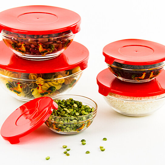 buy 10 pcs glass bowl or food storage bowls set with red lids rooster design by icydeals on. Black Bedroom Furniture Sets. Home Design Ideas