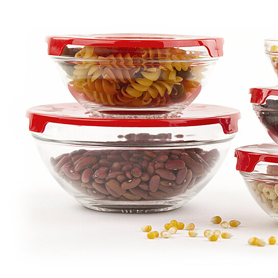 buy 10 pcs glass food storage containers bowls set with red lids by icydeals on opensky. Black Bedroom Furniture Sets. Home Design Ideas