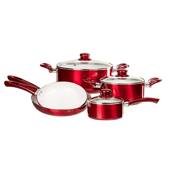 Buy 12 pc red ceramic cookware set non stick pots pans for Buy kitchen cookware
