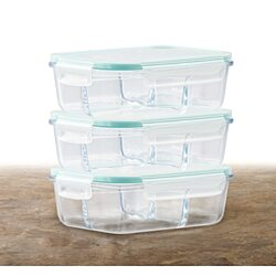 3 Pack Glass Meal Prep Container With Snap Locking Lid 51 OZ - 3 Compartment Divider Glass Food Storage Containers