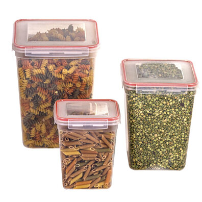 6 Pc Tall Food Storage Containers With Red Lids   Dry Food Cereal Storage  Containers   Large Plastic Storage Containers