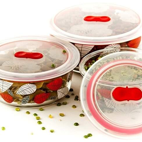 Buy 6 Pcs Healthy Glass Food Storage Containers Set W