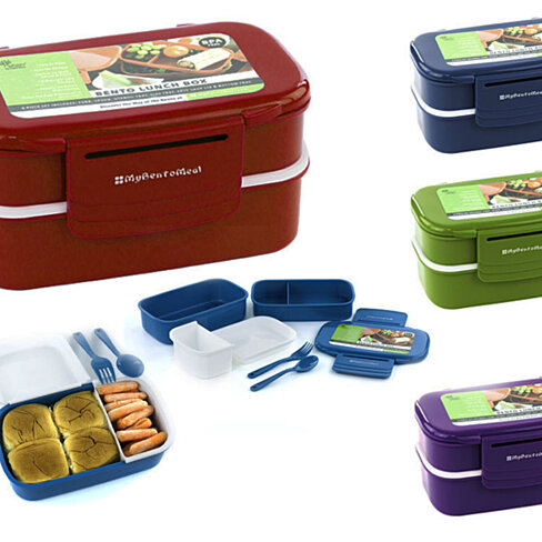 buy bento lunch box w handles utensils 7pcs fun food storage containe. Black Bedroom Furniture Sets. Home Design Ideas