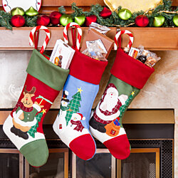 "Christmas Decorations 18"" Santa & Friends Christmas Stockings 3 Pack"