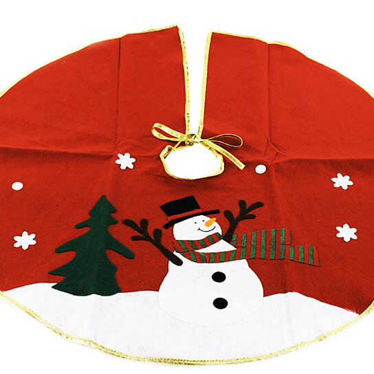 Christmas Decorations Red Tree Skirt With Snowman 30 Inches
