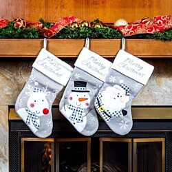 "Classic Christmas Stockings 18"" Cute Santa's Toys Stockings (Grey)"
