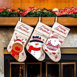 "Classic Christmas Stockings 18"" Cute Santa's Toys Stockings (Reindeer, Snowman, Santa)"