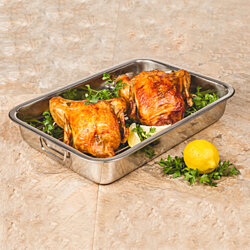 Stainless Steel Roasting Pan With Roasting Rack - 16 Inch Rectangular Lasagna Pan
