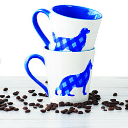 Plaid Ceramic Coffee Mugs Set – 16 OZ Ceramic Coffee Cups Set (Blue Dog Design)