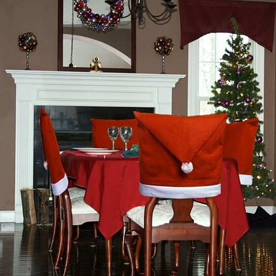 Santa Hat Dining Room Chair Covers Set of Kitchen Christmas Decorations  Indoors