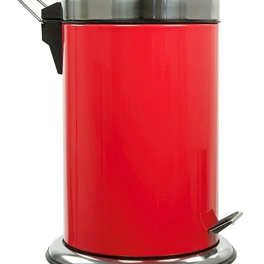 Buy stylish stainless steel round step trash can 7 liter for Red bathroom bin
