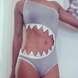 Cute Shark One Piece Swimsuit Swimwear FD1213BI