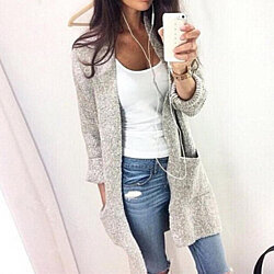 Loose Solid Color Sweater Cardigan  L902178