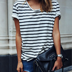 Scoop Nec Stripe Fashion Blouse Shirt Top Tee