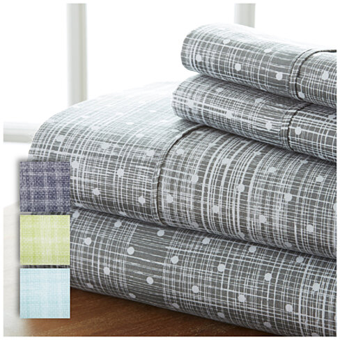Home Collection 4 Piece Sheets Premium Ultra Soft Polka Dot Set