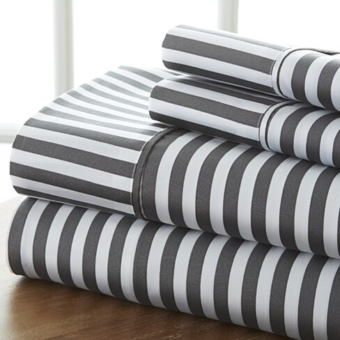 Home Collection 4 Piece Bed Sheet Ribbon Premium Ultra Soft   Set