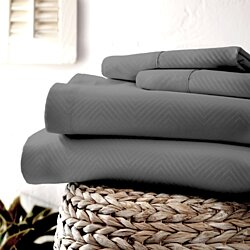 Egyptian Comfort 1800 Count Embossed Chevron 4-PC Sheet Set