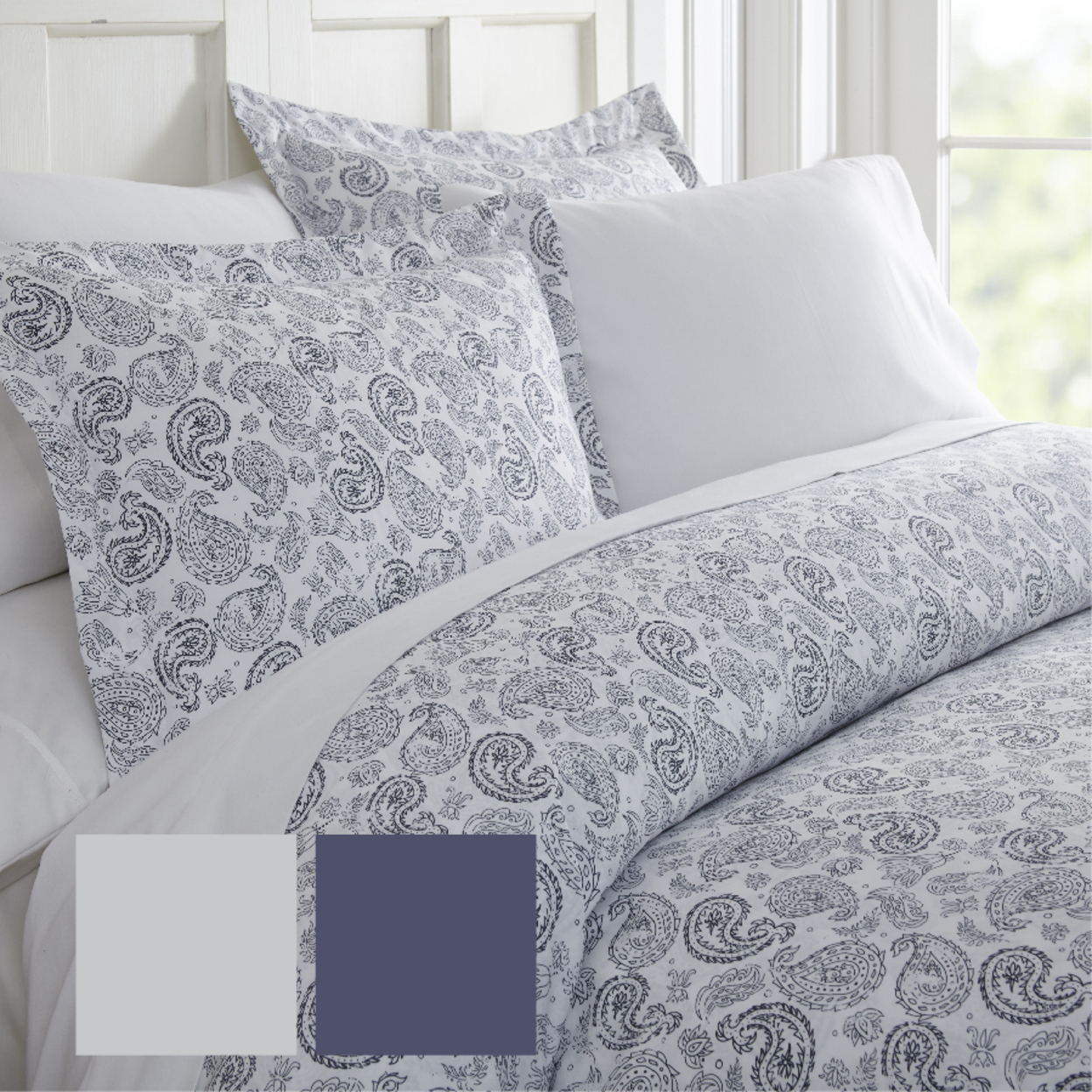Home Collectiong Premium Ultra Soft 3 Piece Coarse Paisley Print Duvet Cover Set California King/king, Light Gray
